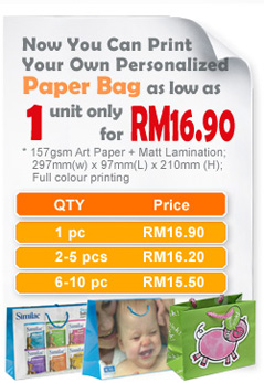 onalized Paper Bag as low as 1 unit only for RM16.90